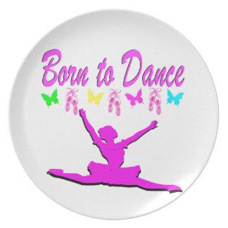 PRETTY PINK BORN TO DANCE BALLERINA DESIGN DINNER PLATES