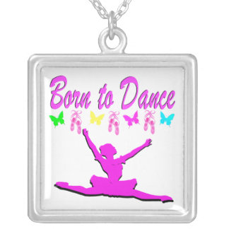 PRETTY PINK BORN TO DANCE BALLERINA DESIGN SILVER PLATED NECKLACE
