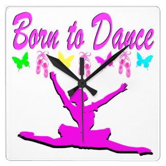 PRETTY PINK BORN TO DANCE BALLERINA DESIGN WALL CLOCKS