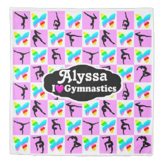 PRETTY PINK BUTTERFLY PERSONALIZED GYMNAST DUVET