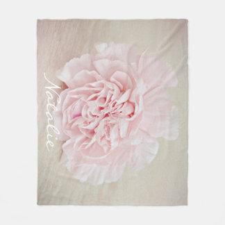 Pretty Pink Carnation by JoMazArt Fleece Blanket