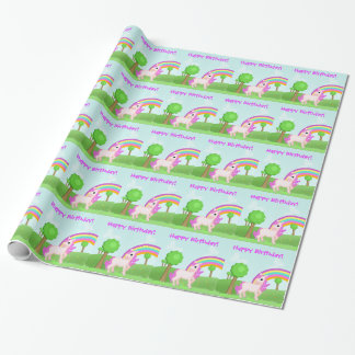 Pretty Pink Cartoon Pony Horse Birthday Wrapping Paper