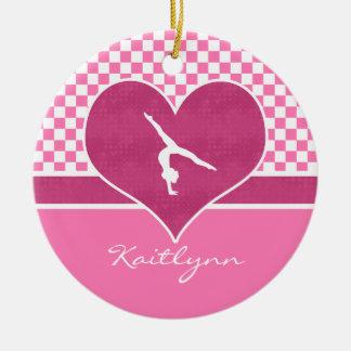 Pretty Pink Checkered Gymnastics with Monogram Ceramic Ornament