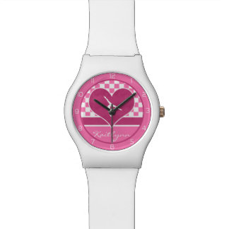 Pretty Pink Chequered Gymnastics with Monogram Wrist Watches