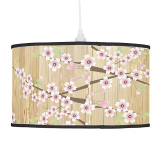 Pretty Pink Cherry Blossom with Bamboo Pendant Lamp