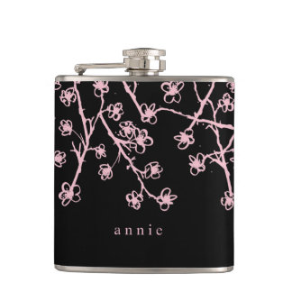 Pretty Pink Cherry Blossoms Hip Flask