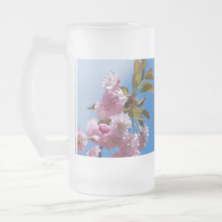 Pretty Pink Cherry Tree Frosted Glass Beer Mug