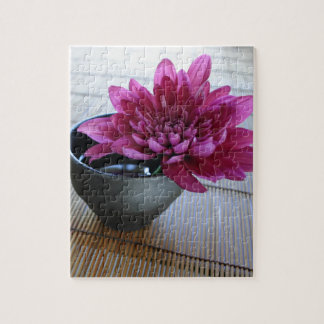 Pretty pink chrysanthemum in zen style puzzle