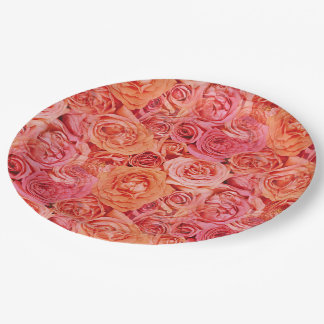 Pretty Pink Coral Red Orange Roses Flowers Pattern 9 Inch Paper Plate