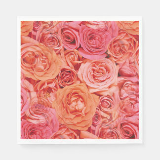 Pretty Pink Coral Red Orange Roses Flowers Pattern Disposable Napkins