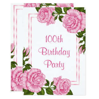 Pretty Pink Corner Bouquets 100th Birthday Card