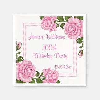 Pretty Pink Corner Bouquets 100th Paper Napkin