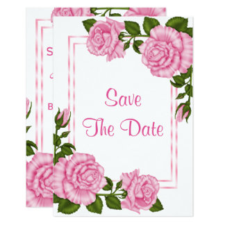 Pretty Pink Corner Bouquets 100th Save The Date Card