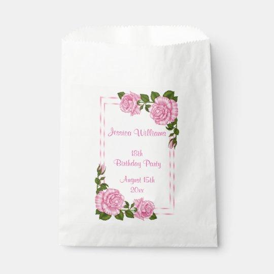 Pretty Pink Corner Bouquets 18th Birthday Favour Bag