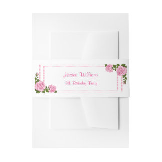 Pretty Pink Corner Bouquets 18th Birthday Invitation Belly Band