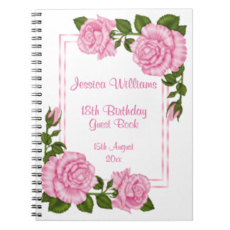 Pretty Pink Corner Bouquets 18th Birthday Notebooks