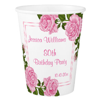 Pretty Pink Corner Bouquets 80th Birthday Paper Cup