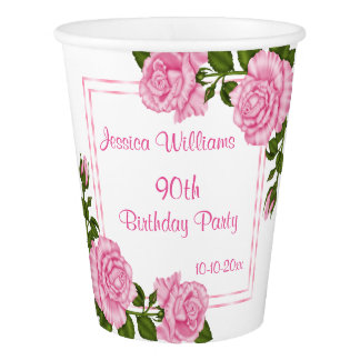 Pretty Pink Corner Bouquets 90th Birthday Paper Cup