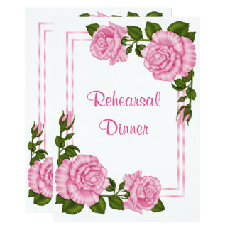 Pretty Pink Corner Bouquets  Rehearsal  Dinner Card