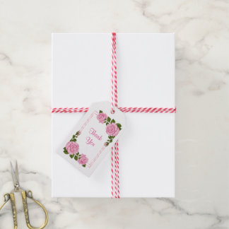 Pretty Pink Corner Bouquets Wedding Gift Tags