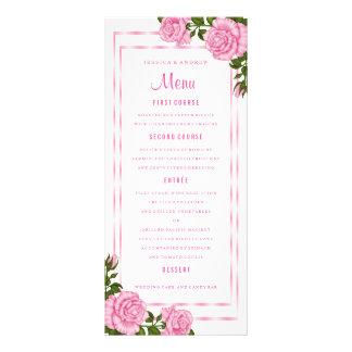 Pretty Pink Corner Bouquets Wedding Menu
