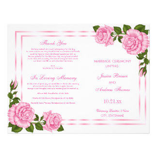 Pretty Pink Corner Bouquets Wedding Program