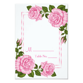 Pretty Pink Corner Bouquets Wedding Table Number Card