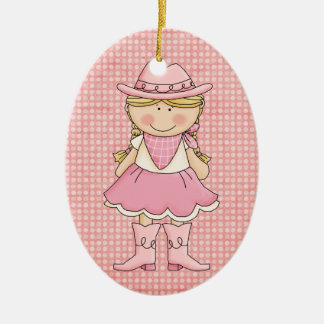 Pretty Pink Cowgirl (blonde) Ceramic Ornament