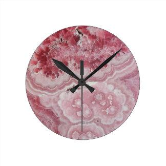 Pretty Pink Crystal Geode Stone Print Round Clock