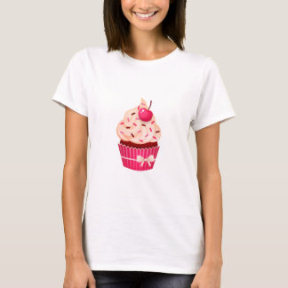 Pretty Pink Cupcake With Sprinkles And Cherry T-Shirt
