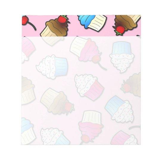 Pretty Pink Cute Cupcakes Print Notepad