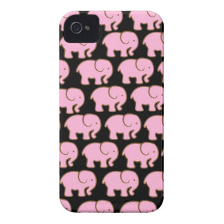 Pretty Pink Cute Elephants on Black Case-Mate iPhone 4 Cases
