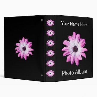 Pretty pink daisy flowers custom name photo album vinyl binders