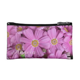Pretty Pink Daisy Flowers Personalized Makeup Bag