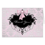 Pretty Pink Damask Thank You Stationery Note Card