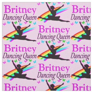 PRETTY PINK DANCING QUEEN PERSONALIZED FABRIC