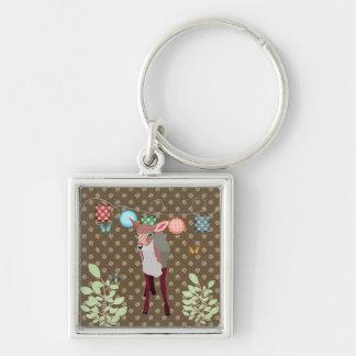 Pretty Pink Deer Butterflies Keychain