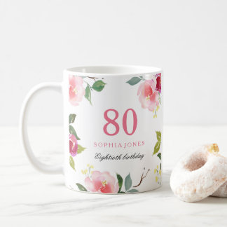 Pretty Pink Elegant Floral 80th Birthday Gift Coffee Mug
