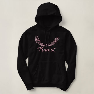 Pretty Pink Embroidery Pianist Hoodie
