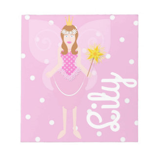 Pretty Pink Fairy Customisable Notepad
