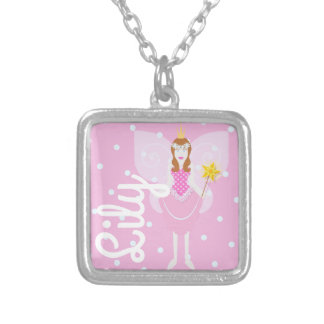 Pretty Pink Fairy Square Pendant/Necklace Silver Plated Necklace