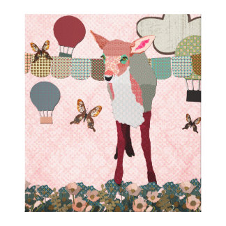 Pretty Pink Fawn Balloon Race Art Canvas Gallery Wrap Canvas