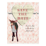 Pretty Pink Fawn Elegant Pink Damask Save the Date Post Card