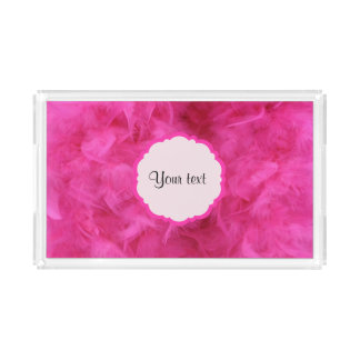 Pretty Pink Feathers Acrylic Tray