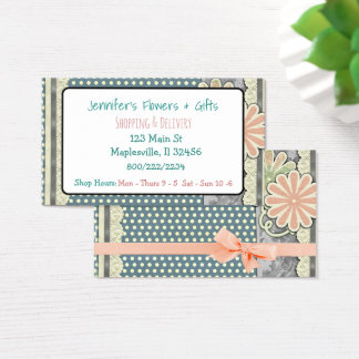 Pretty Pink Feminine Floral Bow Business Card