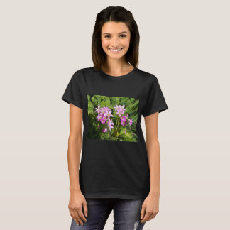 Pretty Pink feminine wildflowers on a dark T T-Shirt