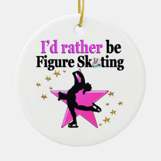 PRETTY PINK FIGURE SKATING IN MY LIFE ROUND CERAMIC ORNAMENT