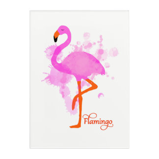 Pretty Pink Flamingo Artistic Paint Splatter Acrylic Print