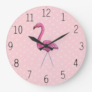 Pretty Pink Flamingo on Polka Dot background Clock