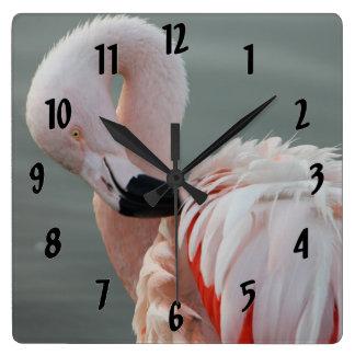 Pretty Pink Flamingo Square Wall Clock